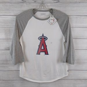 EXPRESS Men MLB LA Angels Raglan Light Weight Tee